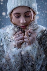 studio photography winter female xmas